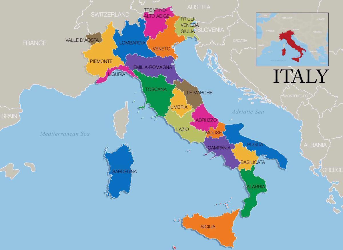 Wlochy Mapa Obszaru Mapa Wloch I Regiony Europa Poludniowa Europa